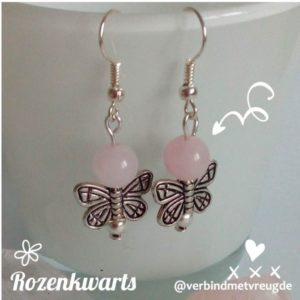Oorbellen rozenkwarts en vlinder