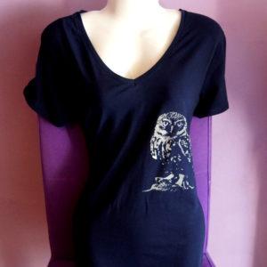 T-shirt met zeefdruk Uil